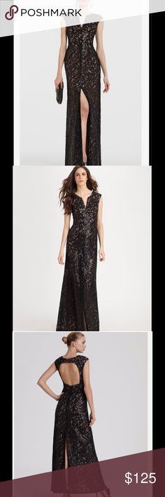 BCBG MAXAZRIA Cain Black Sequin Appliqué Gown Step out in style wearing this beautiful gown by BCBG MAXAZRIA.  Worn once for 2 hours and in perfect condition ready for you to wear out on the town.  All over sequin and mesh design provide an eye catching look for any formal event.  Nude lining, cap sleeves and very sexy high middle front and back slit. BCBGMaxAzria Dresses Prom