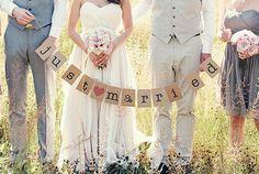 Vintage Inspired Just Married Wedding Bunting by dreammadestudio, $16.00