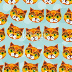 Cat Seamless pattern funny cute animal face on blue background. Royalty Free Stock Vector Art Illustration