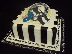 Collingwood themed cake | Decorated Cake | Football themed cake | Boys Cakes | www.angelfoods.net
