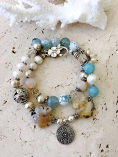 Long Wrap Around Layer Blue Shades Aqua Quartz Blue Lapis Black Onyx Gemstone Ball Bead Strand Necklace for Women 40 Inch