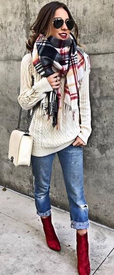 how to wear a plaid scarf : white knit sweater + bag + boots + rips