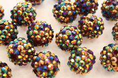 DARK MULTICOLOR 16mm Rhinestone Resin Balls   by cutegirlbeads, $5.00