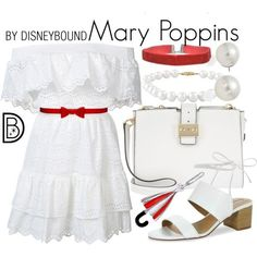 A fashion look from March 2017 featuring LoveShackFancy dresses, Tahari sandals and MICHAEL Michael Kors shoulder bags. Browse and shop related looks. Disney Bound Outfits Casual, Cute Disney Outfits, Disney Dress Up, Disney Themed Outfits, Disneyland Outfits, Cute Outfits, Disney Clothes, Disney Character Outfits, Character Inspired Outfits