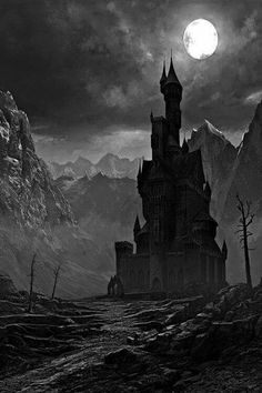 creepy castle in silhouette Gothic Horror, Gothic Art, Horror Art, Dark Fantasy Art, Dark Art, Fantasy Artwork, Fantasy Places, Fantasy World, Dark Castle