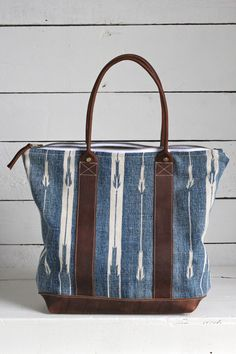 Antique Indigo Dyed Cotton Carryall by Forestbound, original bag company.