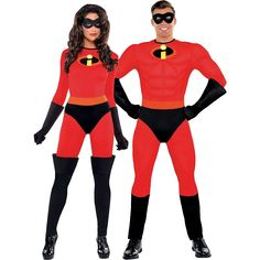 You're the ultimate crime-fighting duo in our The Incredibles Couples Costumes! True to character styling, The Incredibles Couples Costumes feature red jumpsuits with the 'i' insignia. Superhero Couples Costumes, Teen Boy Halloween Costume, Teen Boy Costumes, Halloween Costumes For Teens, Diy Costumes, Costume Ideas, Halloween Couples, Halloween Ideas, Disney Couple Costumes