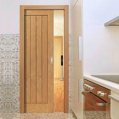 Single Pocket River Thames Original Oak 6 Panel sliding door system in three size widths. #newpocketdoors #oakslidingpocketdoor #oakroomdividers