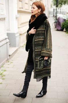 Maja Wyh | green patterned coat + skinny jeans + black ankle boots Processed…