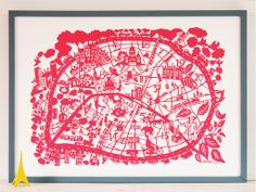 Rubine Red Map of Paris, featuring arrondissements & quirky attractions of the city @Keri Eddins, here's the print you liked from my tweet.