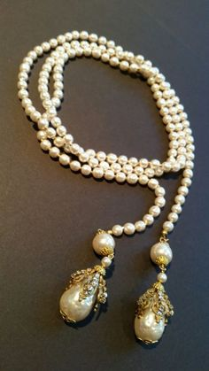 "Long Sign Miriam Haskell Pear/Shape Pearls Rhinestone Necklace Jewelry 50"" tall"