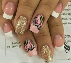On average, the finger nails grow from 3 to millimeters per month. If it is difficult to change their growth rate, however, it is possible to cheat on their appearance and length through false nails. Love Nails, Pink Nails, How To Do Nails, My Nails, Fingernails Painted, Mandala Nails, Nail Candy, Nail Decorations, Stylish Nails