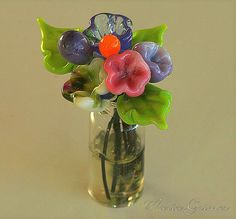 Lampwork Glass Flower Vase by gardenpathbeads on Etsy Purple Lettuce, Glass Flower Vases, Wind Chimes, Glass Art, Beads, Unique Jewelry, Handmade Gifts, Pretty, Outdoor Decor