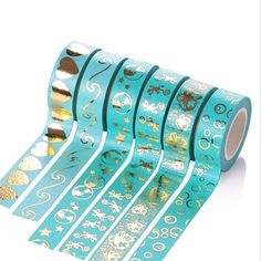 Check out this item in my Etsy shop https://www.etsy.com/listing/525237179/beautiful-blue-washi-tape-gold-foil