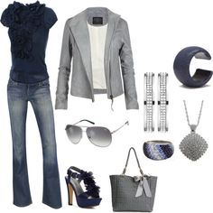 """Navy & Silver"" by melly1376 on Polyvore. hmm.. have blue shirts and grey leather jacket. seems like I'm forced to try it."