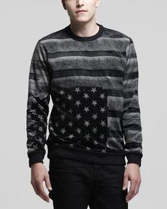 Long-Sleeve Velvet Flag Shirt, Black by Givenchy at Bergdorf Goodman.