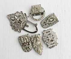Antique Art Deco Rhinestone Dress Clip Repair Lot - 7 Silver Tone Broken Costume Jewelry Buckles, Clasps, Pins, & Findings / White Supplies, by Maejean Vintage on Etsy, $18.00