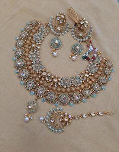 MEENAKARI ART-Indian Gold plated necklace jewellery set with stunning Meenakari artwork Indian Jewelry Earrings, Indian Jewelry Sets, Indian Wedding Jewelry, Jewelry Design Earrings, Wedding Jewelry Sets, Wedding Accessories, Hair Accessories, Indian Bridal, Hair Jewelry