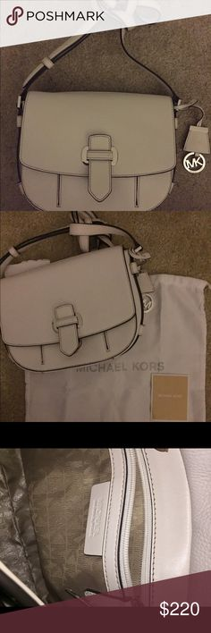 NEW with tags beautiful MICHAEL KORS BAG!! Leather NEW with tags Beautiful MICHAEL KORS BAG! With dust bag!This bag has amazing compartments and features!! One outside compartment that's covered when front flap is down. A zip pocket in the back w/ beautiful silver logo zip. Inside 2 pockets 1 that zips💕Free MK gift w/ purchase Michael Kors Bags
