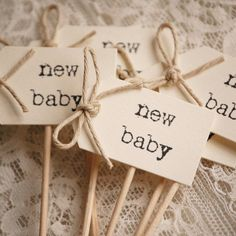 "Cute Vintage ""New Baby"" Cupcake Picks - perfect for Vintage Baby Showers!"