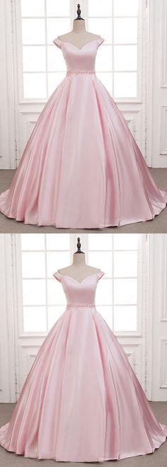 Pink satin long beaded A-line customize sweet16 prom dress, off shoulder long evening dress #promdress #promdresses #promgown #promgowns #long #pinkprom #modestpromdress #newpromdress