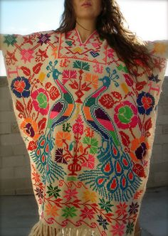 On Hold.... INSANE Bohemian Gypsy Poncho Hand Embroidered Mexican Circa 1960s 1970s