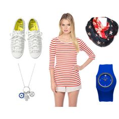 Outfit Inspiration: 4thofJuly Sporty Chic #redwhiteandbluestyle #OOTD #sporty