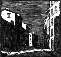 Gwen Raverat:  Street by Moonlight, Vence, I Wood engraving, 1922