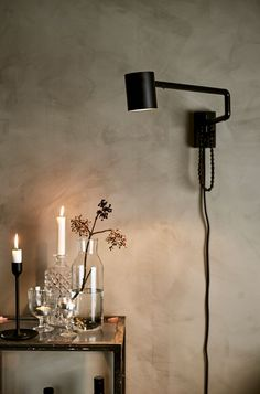 Use a mix of candlelight and dimmable lights like the IKEA NYMÅNE wall lamp to give a space a cosy atmosphere. Happy New Home, Happy House, Cosy Winter, Winter Light, Black Wall Lights, String Lights, Ceiling Lights, Round Door, Interior Stylist