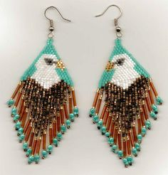 Tribute To The Eagle Seed Bead Earrings.