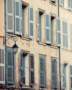 Behind the Blue Shutters - French Windows, Provence Photograph, Spring, Pastel, Travel Photography, Peach, Blue, Shabby Chic, Home Decor