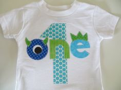 A little monster twist to my birthday shirt! We all want our little one to have a beautiful one of a kind shirt for their birthday, and this is