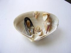 Miniature nativity scenes crafted from seashells, each one unique