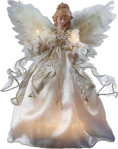 Our classic Angel Tree Topper is the perfect way to complete your Christmas tree. With 10 clear lights and dressed in an ivory dress with gold detailing and feathery wings, this lovely decoration will put everyone in the holiday spirit. Xmas Tree Toppers, Angel Christmas Tree Topper, Christmas Angels, Christmas 2016, Christmas Wishes, Rustic Christmas, Christmas Christmas, Lighted Angel Tree Topper, Light Angel