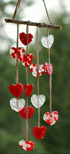 Wind Chimes, Hearts, Outdoor Decor, Red, Home Decor, Crafts, Homemade Home Decor, Decoration Home, Heart