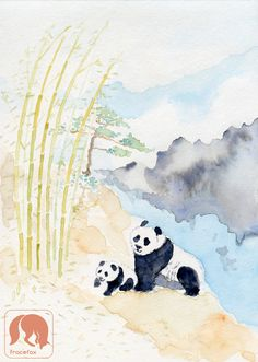 Family in Bamboo Forest, Pandas, Animal and Nature Art Print, Wildlife Watercolor https://www.etsy.com/listing/521232594/family-in-bamboo-forest-pandas-animal?ref=shop_home_active_48
