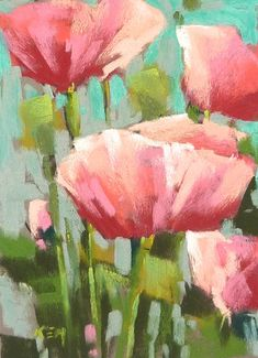PINK POPPIES floral square Original Pastel by Karen Margulis Fine Art $75