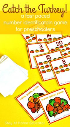 Catch the Turkey - a Thanksgiving Number Identification Game for preschoolers. Preschoolers learn one to one correspondence skills and learn number names while playing this fun Thanksgiving game! Kids Learning Activities, Infant Activities, Preschool Activities, Number Activities, Space Activities, Preschool Printables, Teaching Ideas, Thanksgiving Activities For Kids, Thanksgiving Crafts