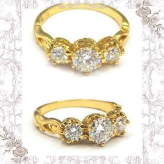 Unique Art Nouveau Style, 3 Diamond 18K Filigree Gold Engagement Ring, • 73 Ct, G Col, VSI, Size 6, Size K, 6 Claw Settings, Heirloom, Layby