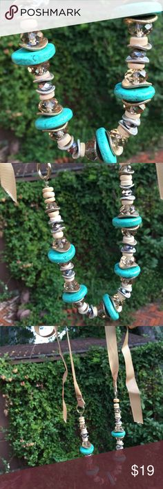 Neat ribbon necklace with pretty turquoise beads! I love this ribbon necklace! It was  perfect piece for work and for a casual day! Jewelry Necklaces