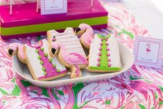 Flamingo cookies from Lilly-Pulitzer Tropical Bridal Luncheon at Kara's Party Ideas. See the on-point details here!