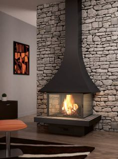 contemporary fireplace (wood-burning closed hearth) - JULIETTA 985 - ArchiExpo JC bordelet