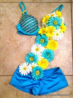 ON SALE NOW!!!!!  TEAL DAISY SASH OUTFIT  Festival Outfit Edc Outfit Raver Bra  RAVERCOUTURE.STORENVY.COM (heatherscollections changed to ravercouture)