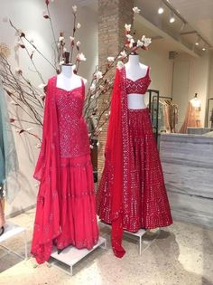 Red mirror work Tamanna Punjabi Kapoor bridal lehenga and sharara set. Party Wear Indian Dresses, Designer Party Wear Dresses, Indian Fashion Dresses, Indian Bridal Outfits, Indian Gowns Dresses, Party Wear Lehenga, Dress Indian Style, Indian Designer Outfits, Designer Gowns