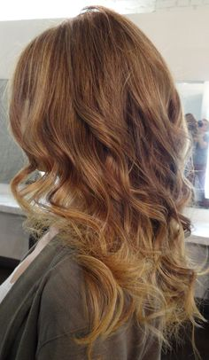 light brown/ dark blonde ombre. love the top color. I think I want to try a light brown in my hair.