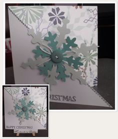 Paper pad by Dovecraft (Trimcraft). Large snowflake by Craftwork Cards. The smaller snowflake is the 7.5cm craft punch by Artemio. Button by Woodware. Raffia by The Works. Greeting and Dotty Lines peel-off by Craft Creations.