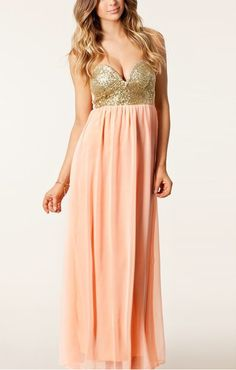 Pink Bustier Maxi Chiffon Dress