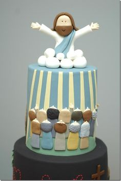 Happy Easter with cross and Bible cake topper edible icing or Wafer