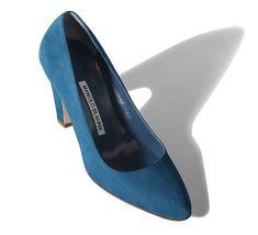 Manolo Blahnik Alecta Cone Heel #Pumps Blue Suede. #2016Fall #womenstyle