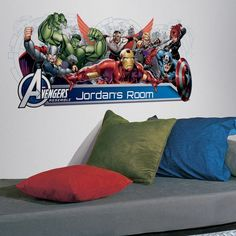 RoomMates Avengers Assemble Personalization Headboard Peel and Stick Wall Decals - The Home Depot RoomMates Avengers Assemble Personalization Headboard Peel and Stick Wall Decals, Multi Avengers Team, Marvel Avengers Assemble, Disney Wall Decals, Kids Wall Decals, Teen Boy Bedding Sets, Mickey Mouse Classic Cartoons, Avengers Bedroom, Headboard Decal, Personalized Wall Decals